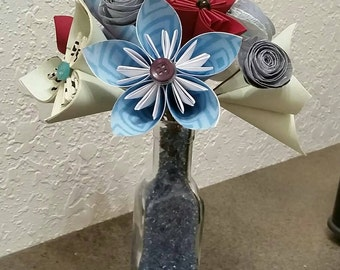 Paper Flowers - Made to Order - Paper Floral Arrangement - Small Glass Vase - Origami Flower Bouquet