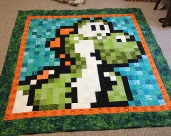 "One of a kind 75"" x 75"" Custom Made Pixelated Nintendo Yoshi Quilt"