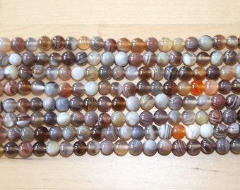 Botswana Agate 6mm Round Beads A Grade 16inch Strand