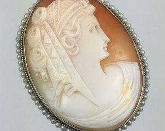 Vintage Antique Shell Cameo Sterling & Natural Seed Pearl Brooch - Circa 1870s