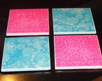 Pink and Blue Ceramic Coasters, set of 4