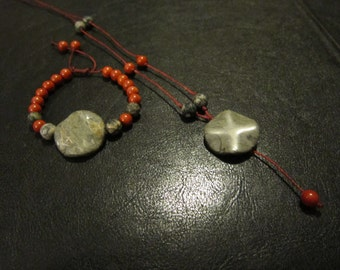 Red Coral and Spiderweb Jasper Bracelet Necklace Combo