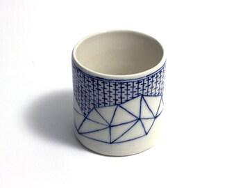 blue and white geometric vase