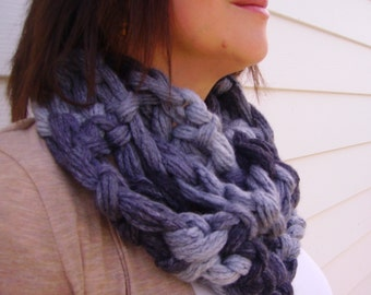 Finger Crochet infinity Scarf;  varigated shades of gray