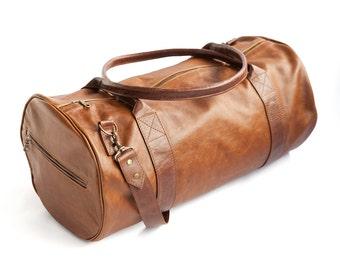 Genuine Leather Travel Bag, Weekend bag, Leather Duffel Bag, Women Duffel Bag, Mens Duffel Bag, Handmade Leather Bag - ROWDY SANTORINI