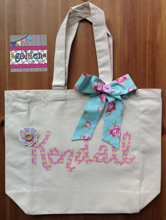 Personalized Name Shabby Chic Tote Bag with Fabric Bow and Fabric Flower. Pink