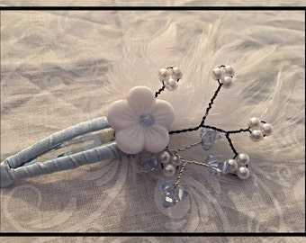 Hand-Beaded Flower and Feather Hair Clip