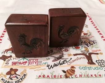 Vintage Wooden Rooster Salt and Pepper Shakers