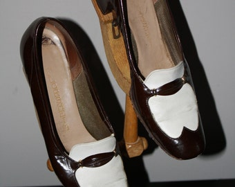 Rare 1940s Spectator Florsheim 6 Vintage Oxford Chocolate White Wingtip Preppy Tuxedo Flapper