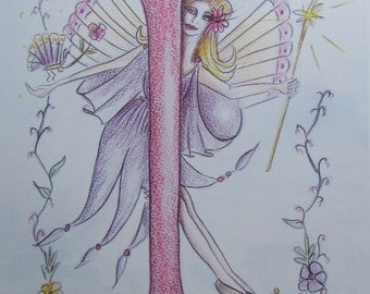 "Letter ""I"" Tritzia Fairy Illustration in Watercolour Pencil"
