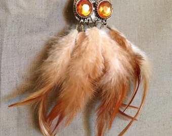 Vintage Owl Feathered Necklace