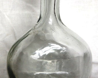 Antique or Vintage Crooked Clear Glass Bottle