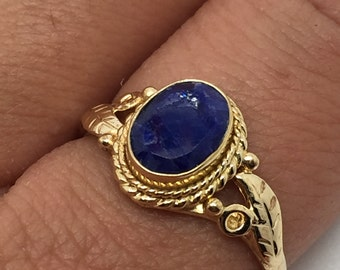 Gold plated ring with sapphire stone, sapphire gemstone,sapphire jewelry,blue stone ring,gold plated ring,stone ring,gold sapphire ring,