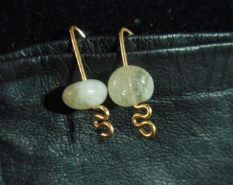 14K Gold Filled Wire Earrings with Rutilated Quartz Stone