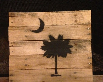 South Carolina Palmetto Tree Re-claimed Pallet Art