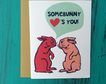 Easter Greeting Card // Easter Bunny Greeting Card //Somebunny Loves You Greeting Card