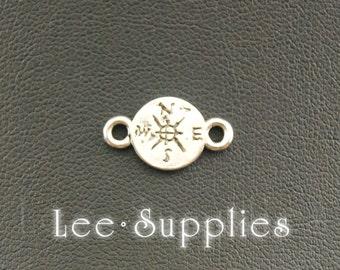 50pcs Antique Silver Alloy Compass Connector Charms Pendant A933