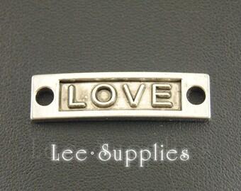 10pcs Antique Silver Letter Love Connector Inspiration Charms Pendant A414
