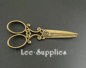 5pcs Antique Bronze Alloy Metal Large Scissors Charms Pendant A379