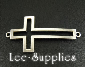 10pcs Antique Silver Alloy Sideways Cross Connector Charms A660/A661