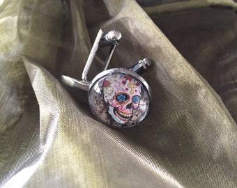 Cufflinks glass cabochon sugar skull gun metal grey