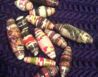 13 Various Sizes Paper Beads, Earth Tones