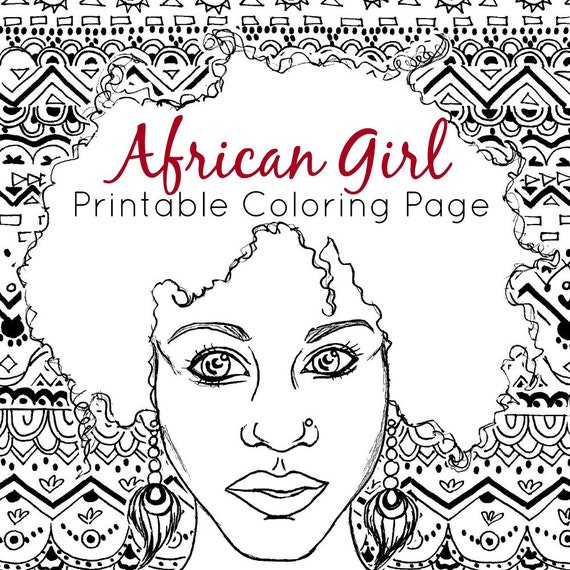 Etonnant African Coloring Page | Adult Coloring Page | African Girl + Tribal Coloring  | Printable Coloring Page