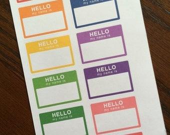 Hello Name Tag Stickers