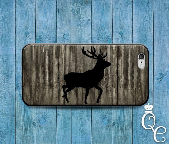 iPhone 4 4s 5 5s 5c SE 6 6s 7 plus iPod Touch 4th 5th 6th Gen Hunting Wood Cover Cute Deer Silhouette Custom Cool Black Grey Case Hunt