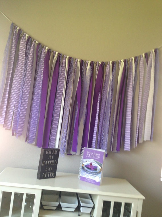 purple gray white fabric banner bunting garland baby shower decor birthday cake smash wedding photo prop READY TO SHIP 5 feet by 36 inches