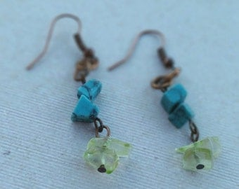 Turquoise and Yellow Quartz Earrings