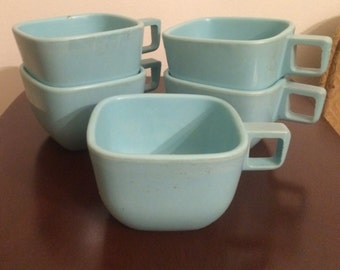 Square Turquoise Melamine Cups - Modern Design - Camping, 50's Kitchen - Set of 5