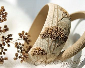 Beige Bangle set - Branches Bracelet set - Polymer clay bangle - Beige bangle bracelet - Wide relief bracelet - beige bracelet - Wide bangle