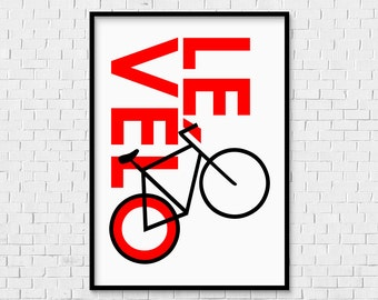 Le Vélo (King of the Mountains) Print - INSTANT DOWNLOAD the Tour de France French bicycle bike cycling cyclist cycle race art red black