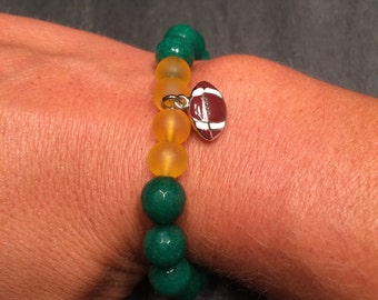 Green and Gold Football Charm Bracelet