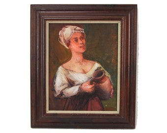 Mid-century Stylized Scullery Maid Oil Painting Walter Moskow Evanston Artist