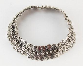 Copy Los Castillo Pre-Columbian Double Swirl Mexican Silver Necklace