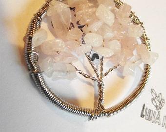 Rose Quartz Tree Necklace.