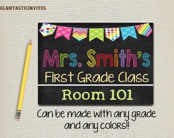 Teacher Door Sign, Teacher Name Sign, Classroom Decor, Classroom Printables, Teacher Sign - Personalized Teacher Sign, Sign, Classroom Sign