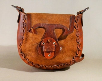 Vintage Brown Leather Suede Saddle Bag, Bohemian Hippie Bag