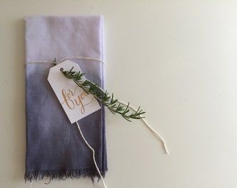 Dip dyed, hand pulled grey linen napkins (set of four)