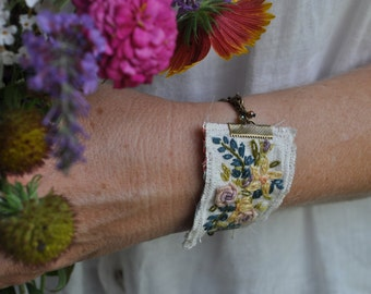 Flower Bouquet Embroidered Bracelet