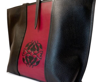 Leather Tote bag, black and red