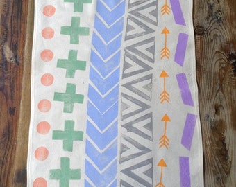 Tea Towel  - Block printed tea towel - Beige cotton Tea Towel -  Colorful Multi Shapes Tea Towel