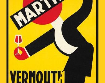 Bar Waiter Martini Vermouth Italy Italian Drink  Restaurant Vintage Poster Repro Free S/H in USA