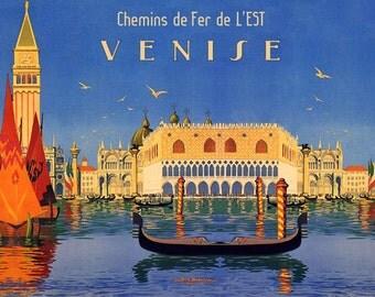 Italy Venise Venice Gondola Italy Italia Italian Travel Tourism European Horizontal Vintage Poster Repro FREE SHIPPING