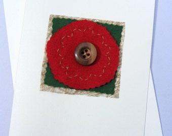 Handmade Button-Rose Card