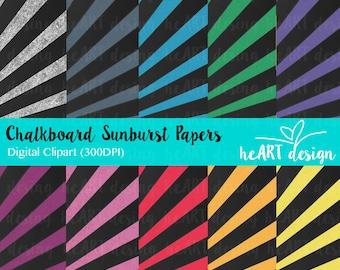Chalkboard Sunburst Digital Paper / Digital Paper for Commercial and Personal Use / INSTANT DOWNLOAD