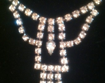Center Drop Rhinestone Necklace