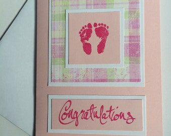 Congratulations Baby-It's A Girl- Pink Baby Feet-Welcome Baby-Congrats Baby Girl-Blank inside for your own personal message